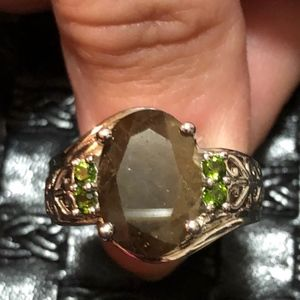 Chocolate Sapphire, Russian Diopside Ring